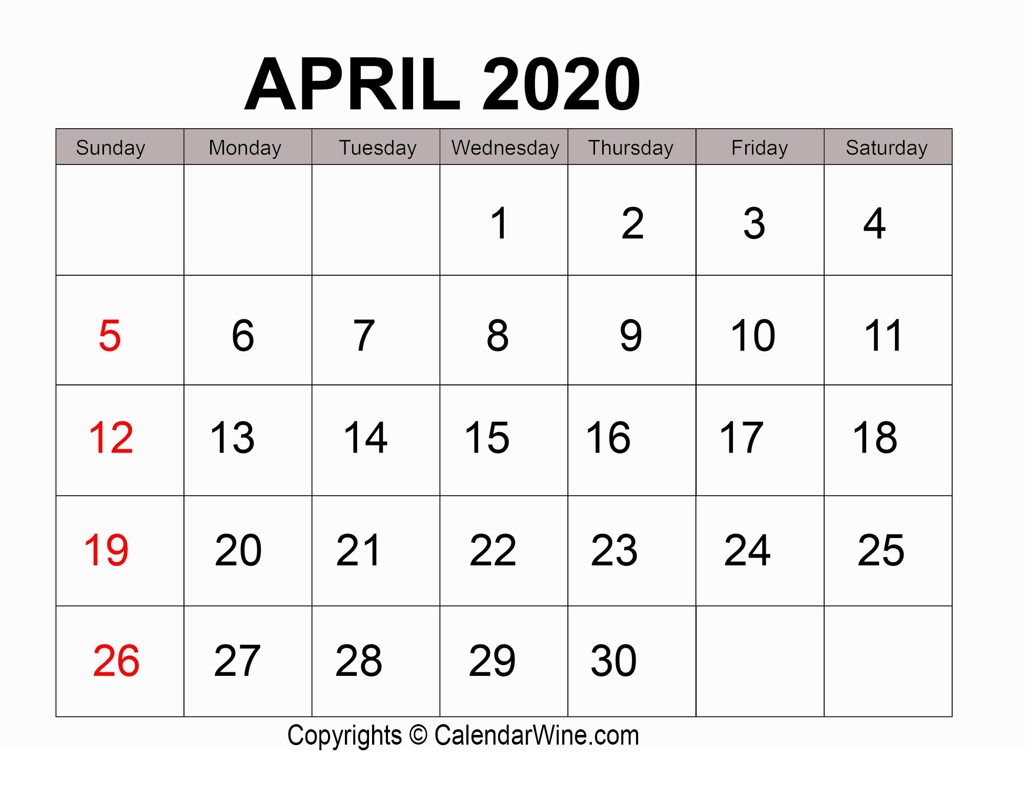 Download Free Printable April 2020 Calendar Pdf Template