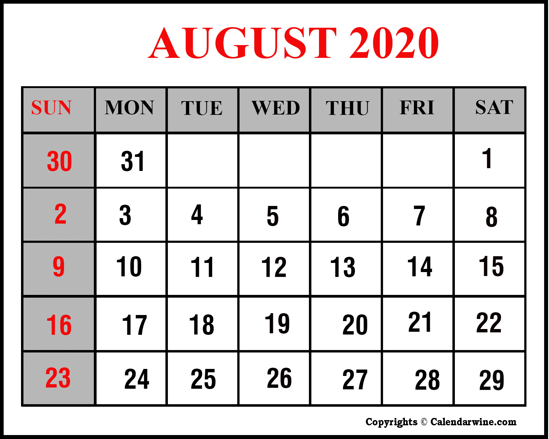Download Printable August 2020 Calendar Pdf & Word