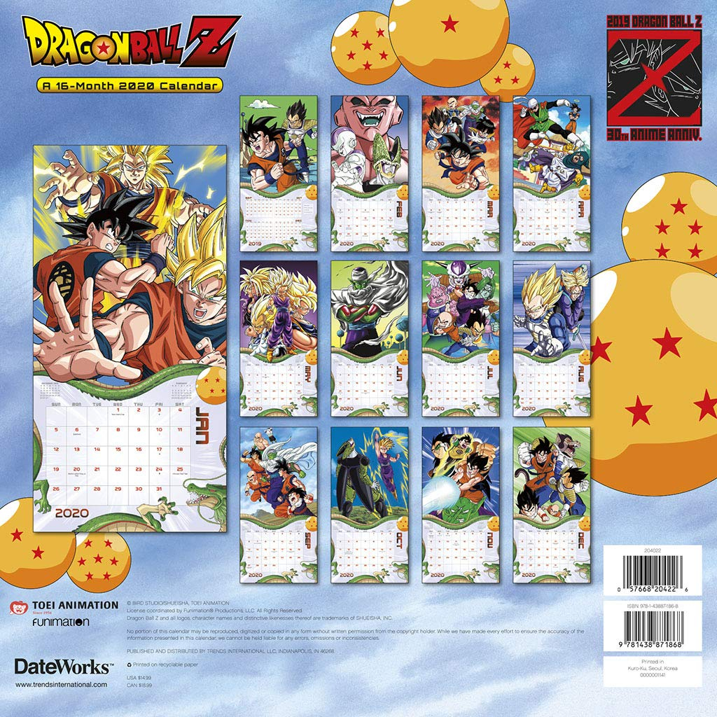 Dragon Ball Z 30Th Anniversary 16 Month 2020 Anime Images Wall Calendar  Sealed