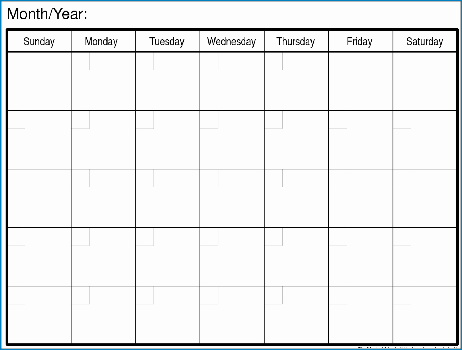 √ Free Printable Blank Monthly Calendar Template | Templateral
