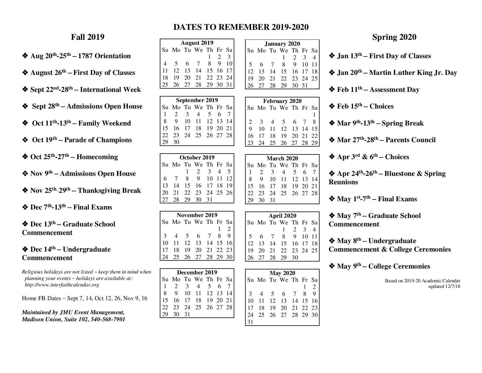 ✅Jmu Academic Calendar 2019-2020 Important Dates - You