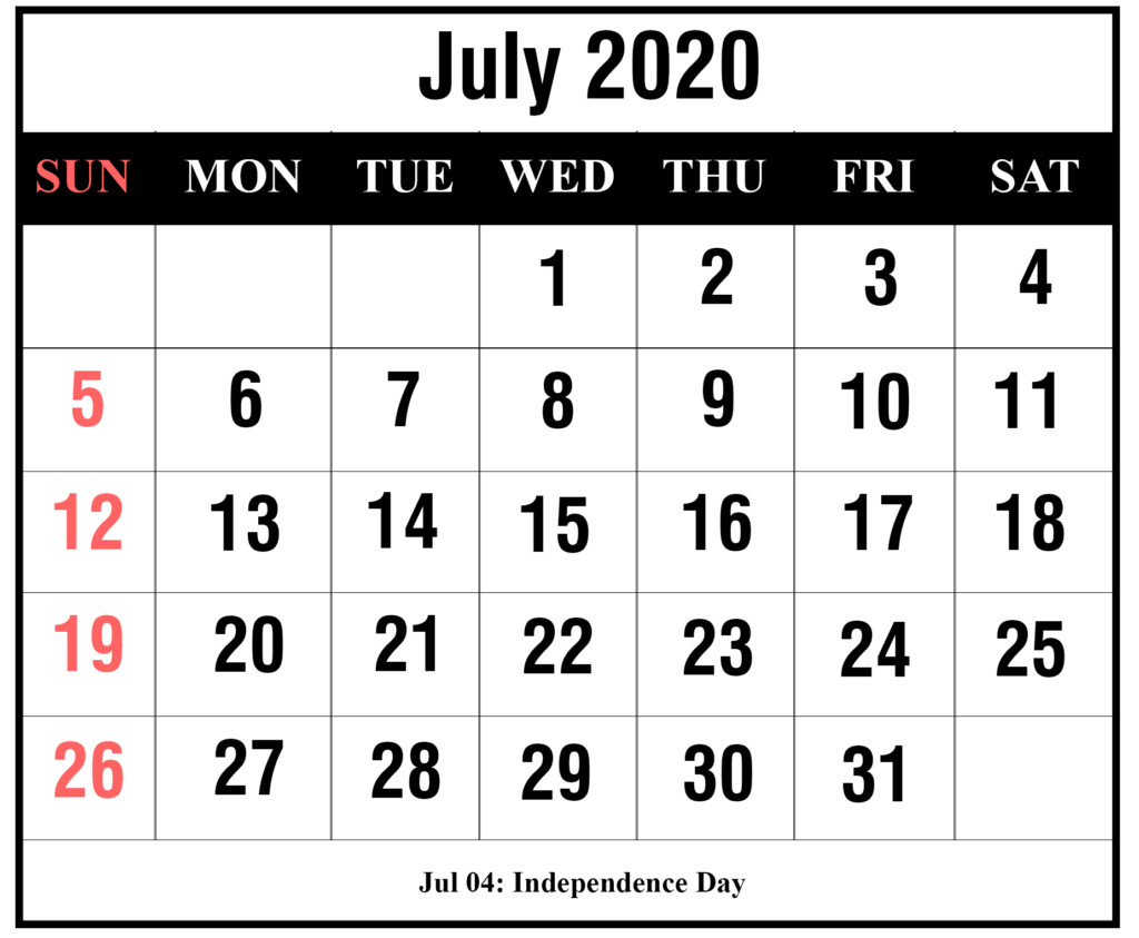 ❤️free July 2020 Printable Calendar Templates [Pdf, Excel