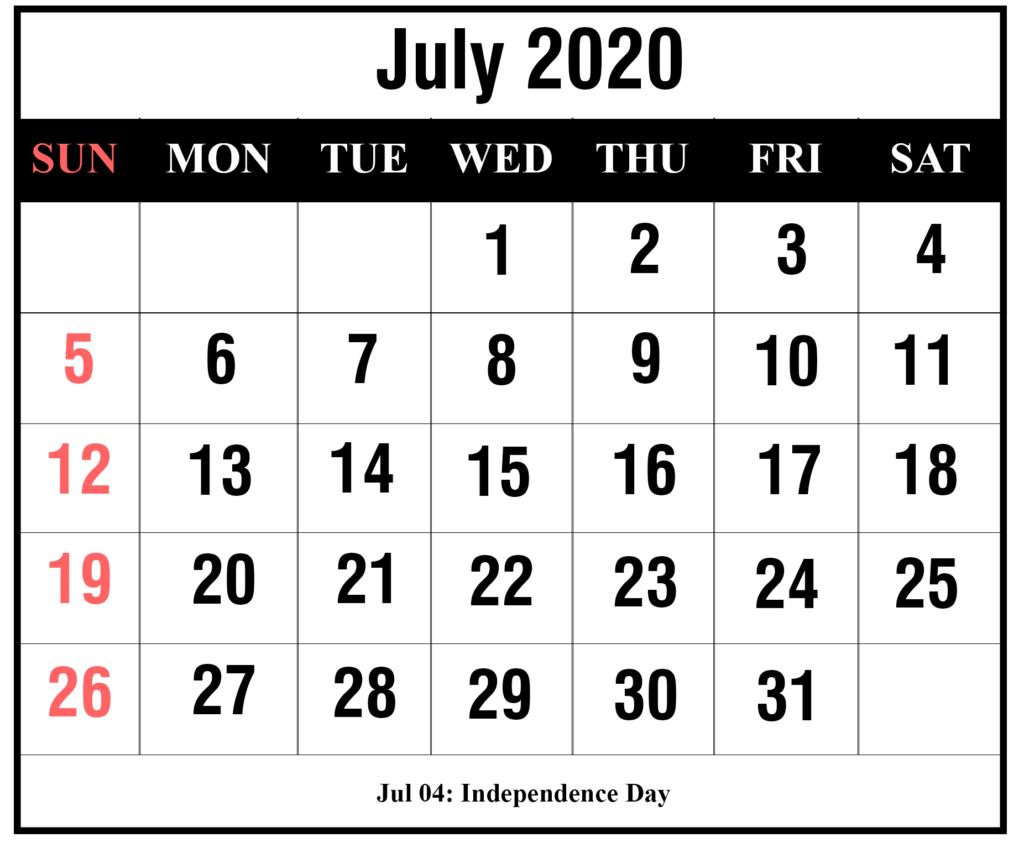 ❤️free July 2020 Printable Calendar Templates [Pdf, Excel
