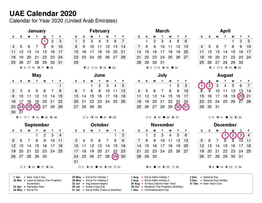 ❤️free Uae Public Holidays 2020 Calendar Templates