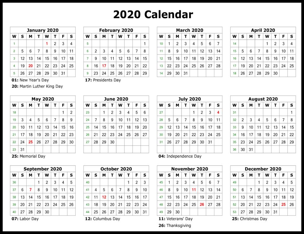 ❤️free Yearly 2020 Printable Calendar Templates [Pdf, Word