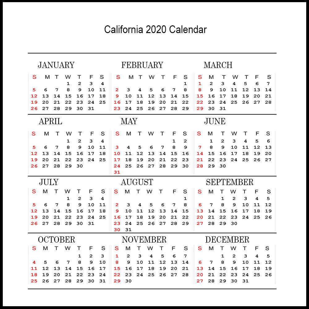 ❤️printable 2020 Calendar With California Public Holidays