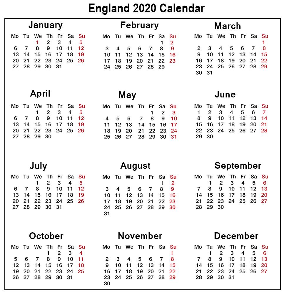 ❤️printable Calendar 2020 Templates With England Public