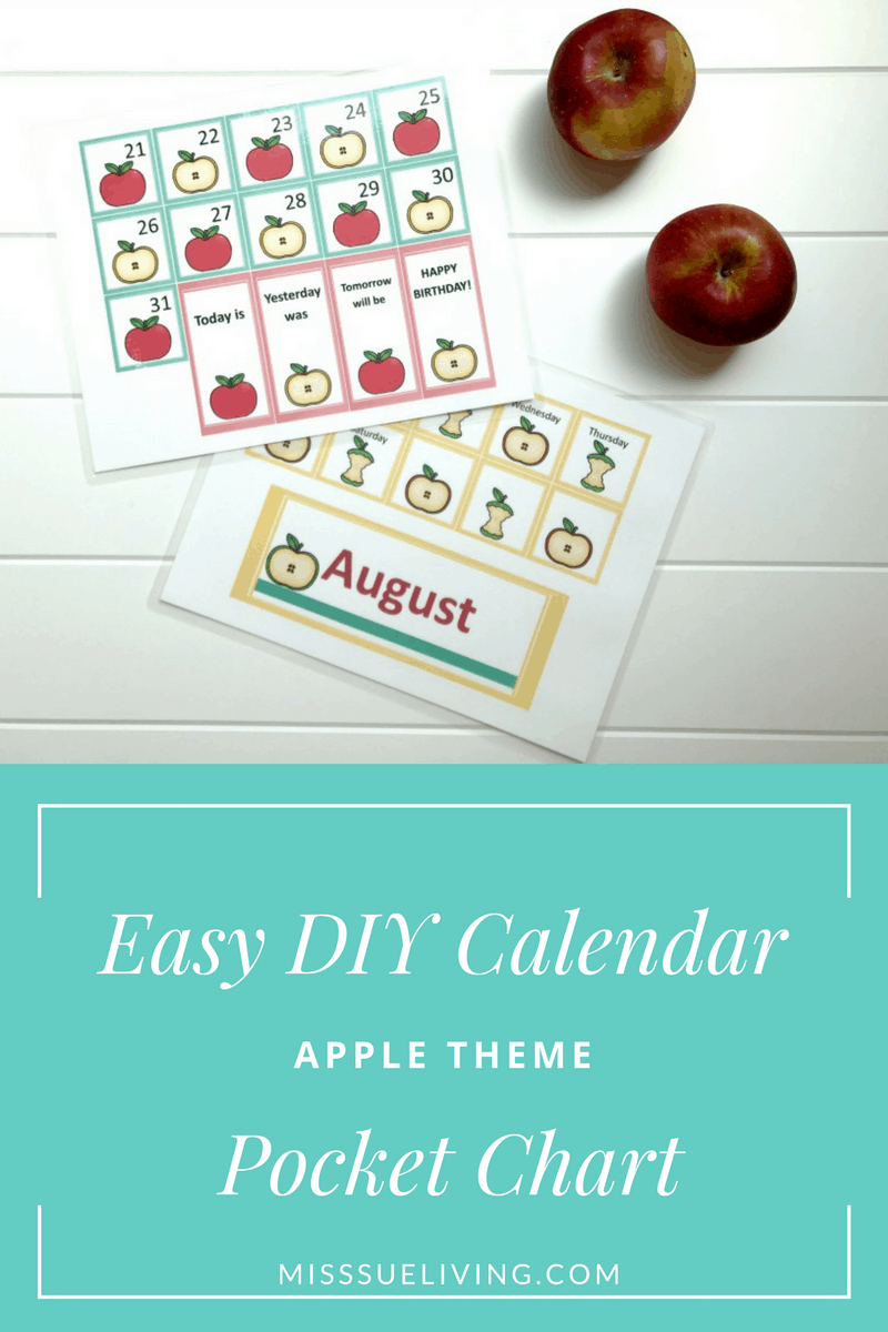 Easy Diy Calendar Pocket Chart - Apple Theme ~ Miss Sue Living
