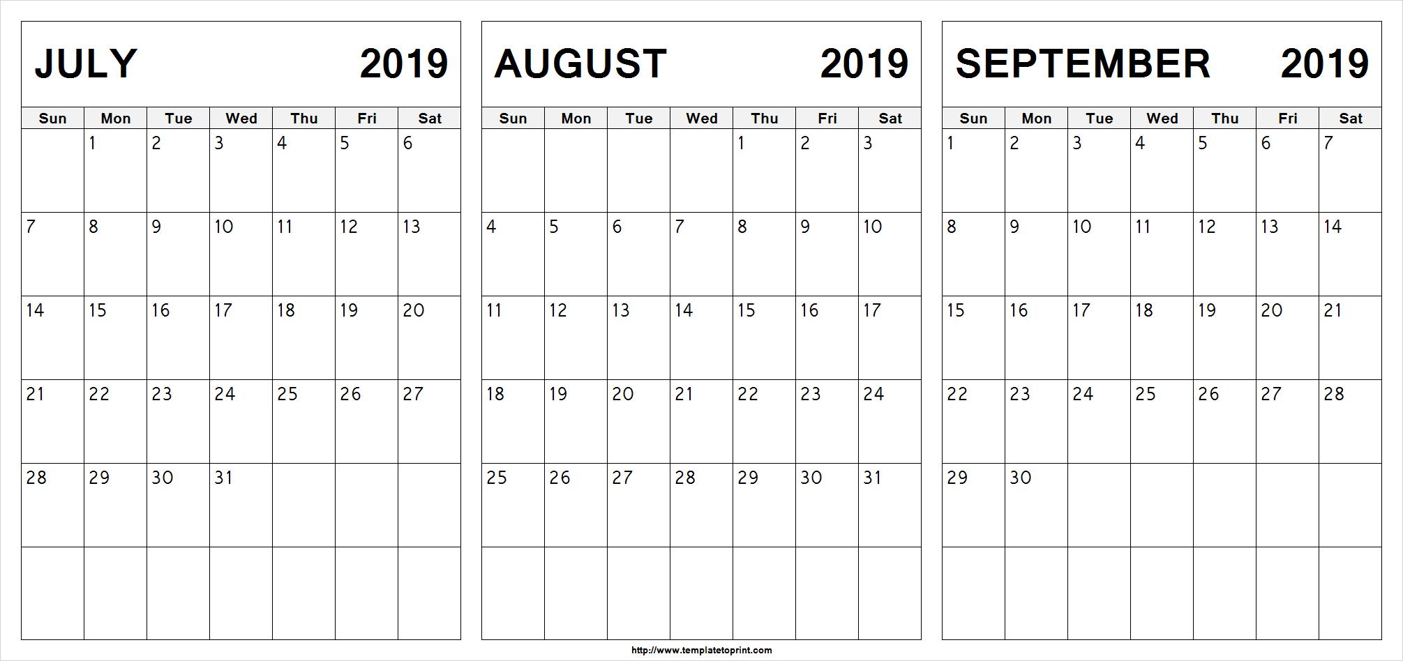 Edit Printable July August September 2019 Calendar