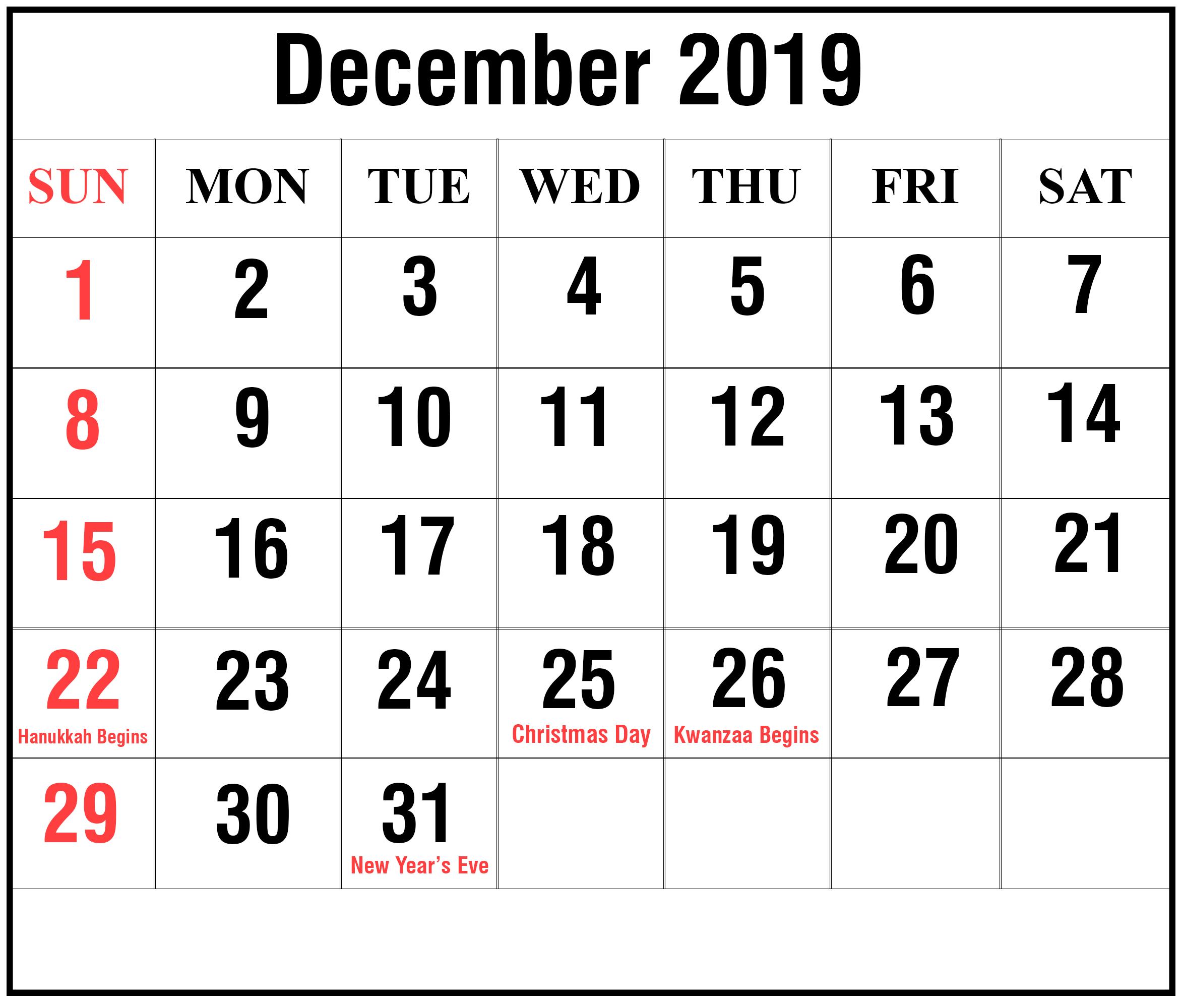 Editable December 2019 Calendar Blank Template | December