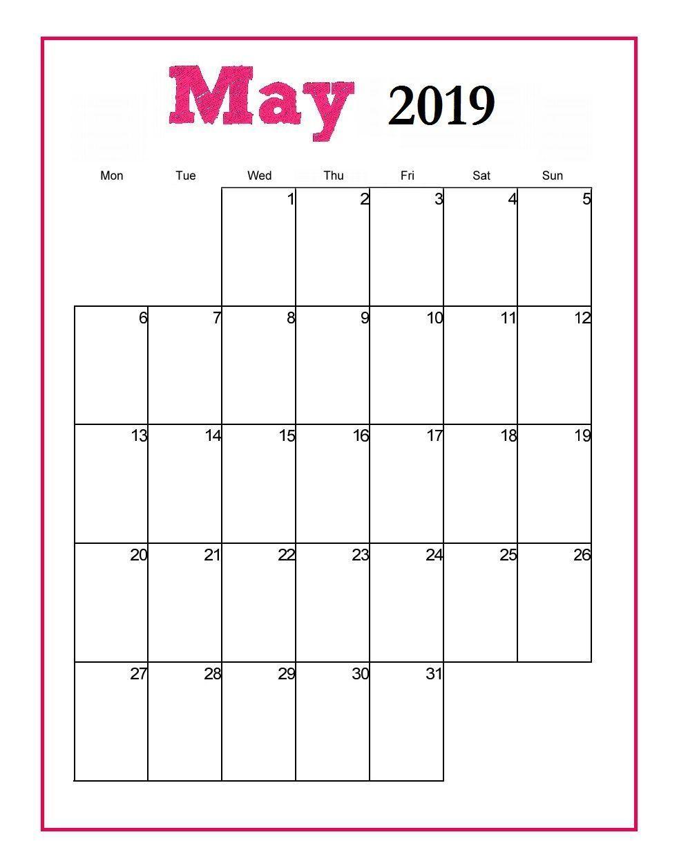 Editable May 2019 Calendar Portrait | Print Calendar, Free