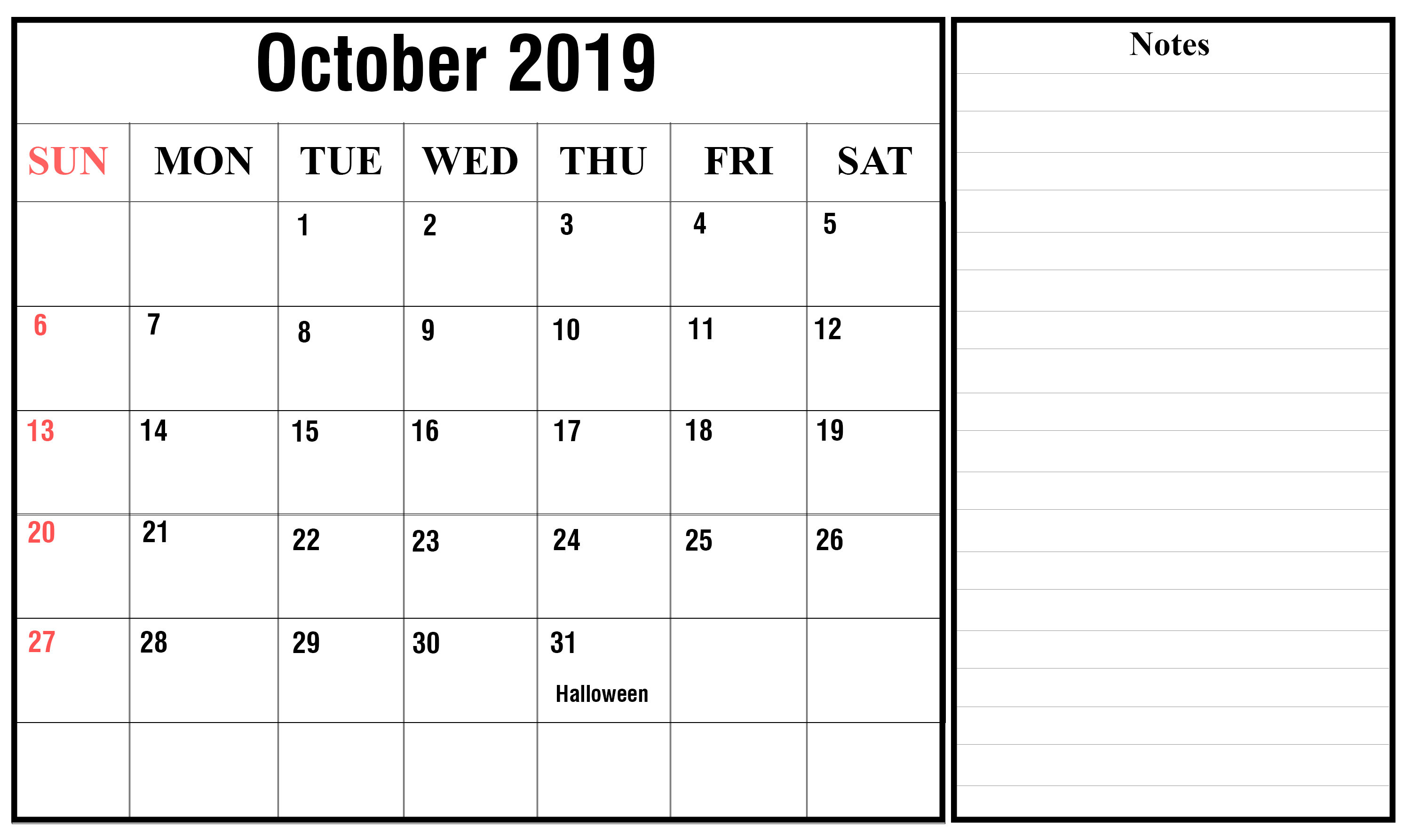 Editable October 2019 Calendar Printable Template