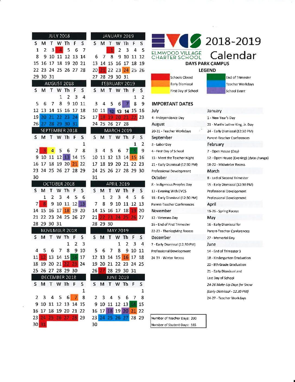 Elmwood Village Charter Schools | 2018-2019 Calendars