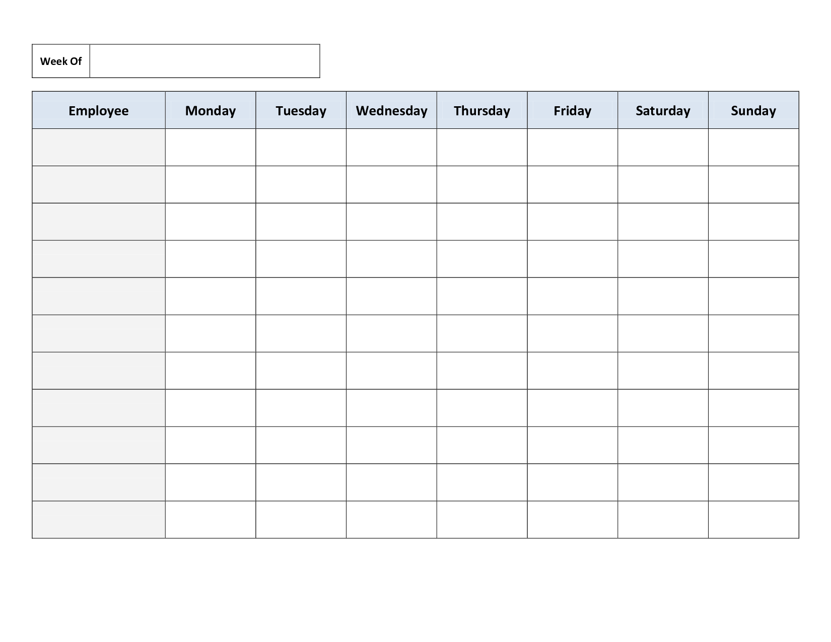 Employee Work Schedule Template - Free Templates | Daily