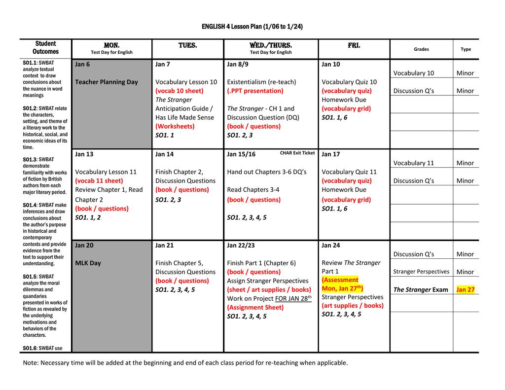 English 4 Prep - Stage 3 Calendar 1-06 To 1-24