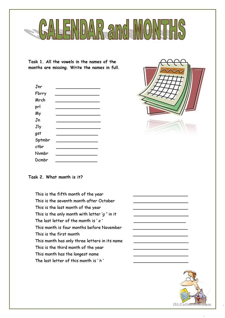 English Esl Calendar Worksheets - Most Downloaded (93 Results)