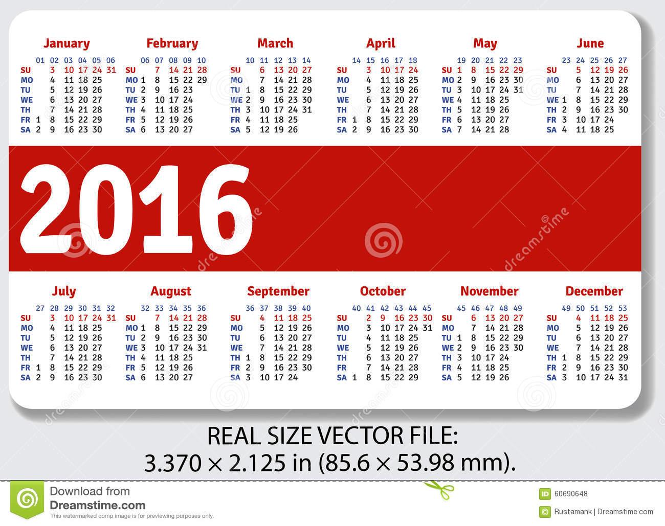 English Pocket Calendar For 2016 Stock Vector - Illustration