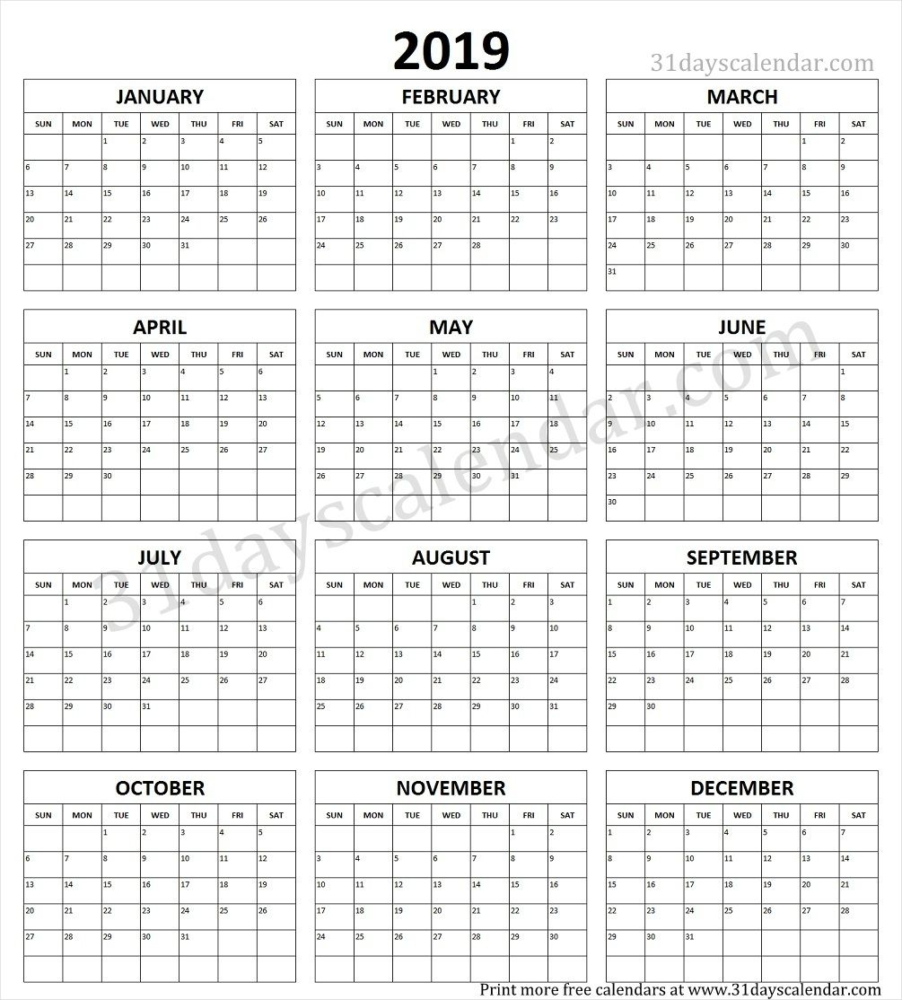 Entire Year Calendar One Page - Wpa.wpart.co