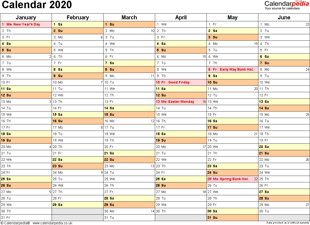 Excel 2020 Yearly Calendar - Wpa.wpart.co