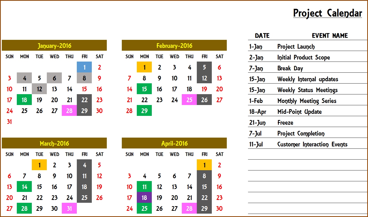 Excel Calendar Template - Excel Calendar 2019, 2020 Or Any