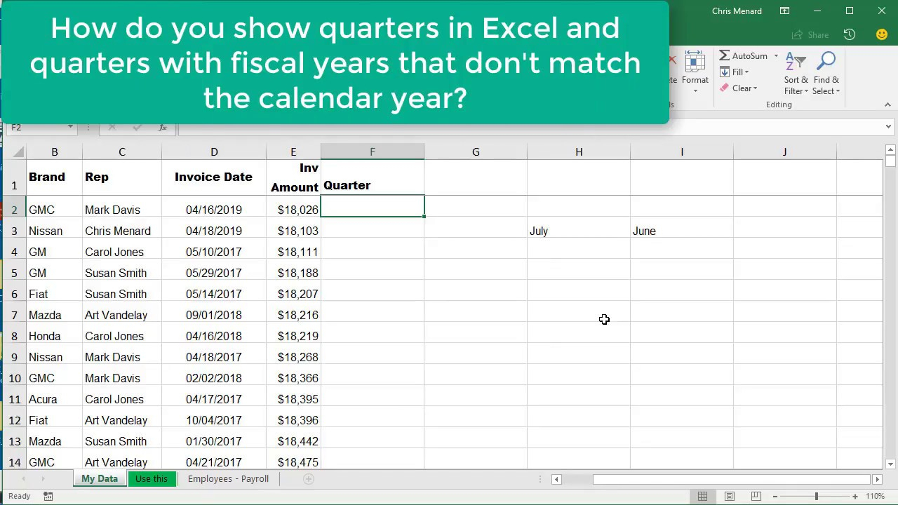 Excel Choose & Month Function For Quarters Where Fiscal Year Is Not  Calendar Year - Chris Menard