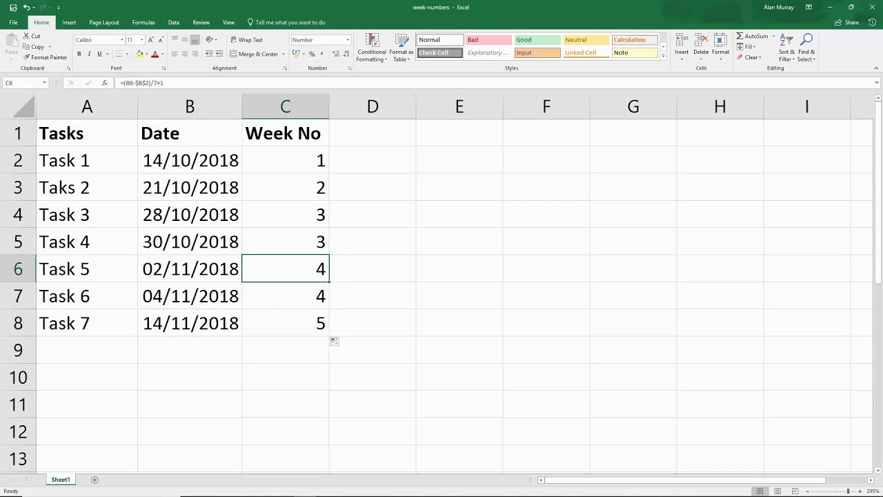 Excel Formula - Find The Week Number From Any Given Date