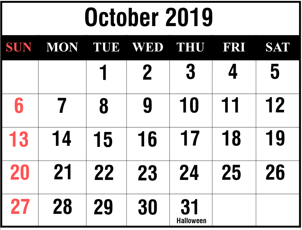 😄printable October 2019 Calendar With Holidays [Pdf, Excel