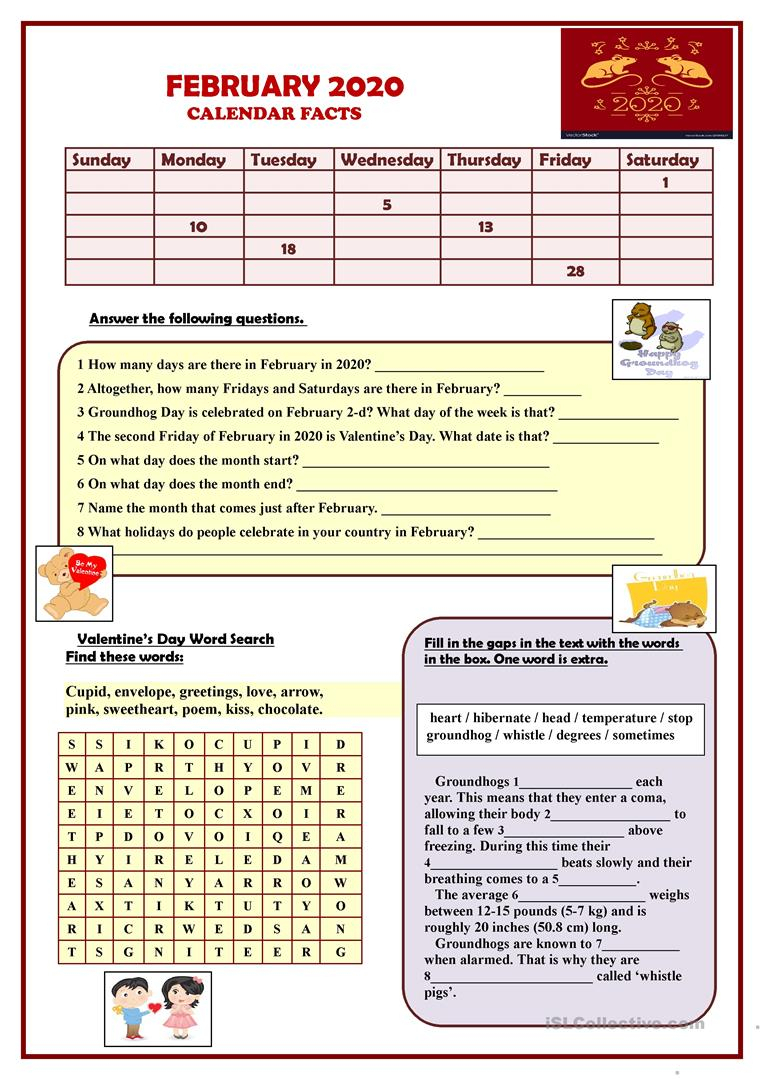 February 2019 Calendar Facts - English Esl Worksheets