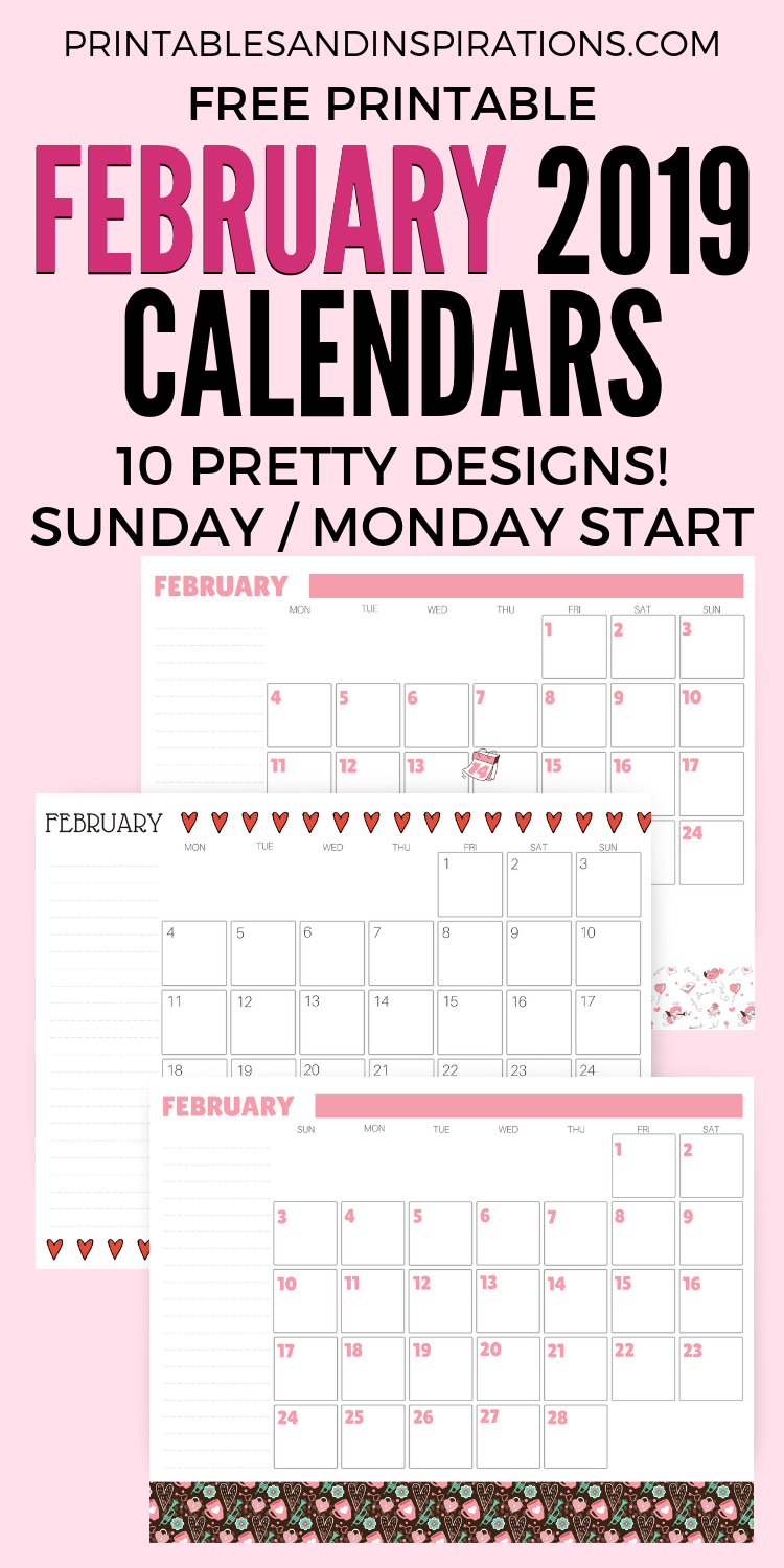 February 2019 Calendars + Valentine Printables | All Things