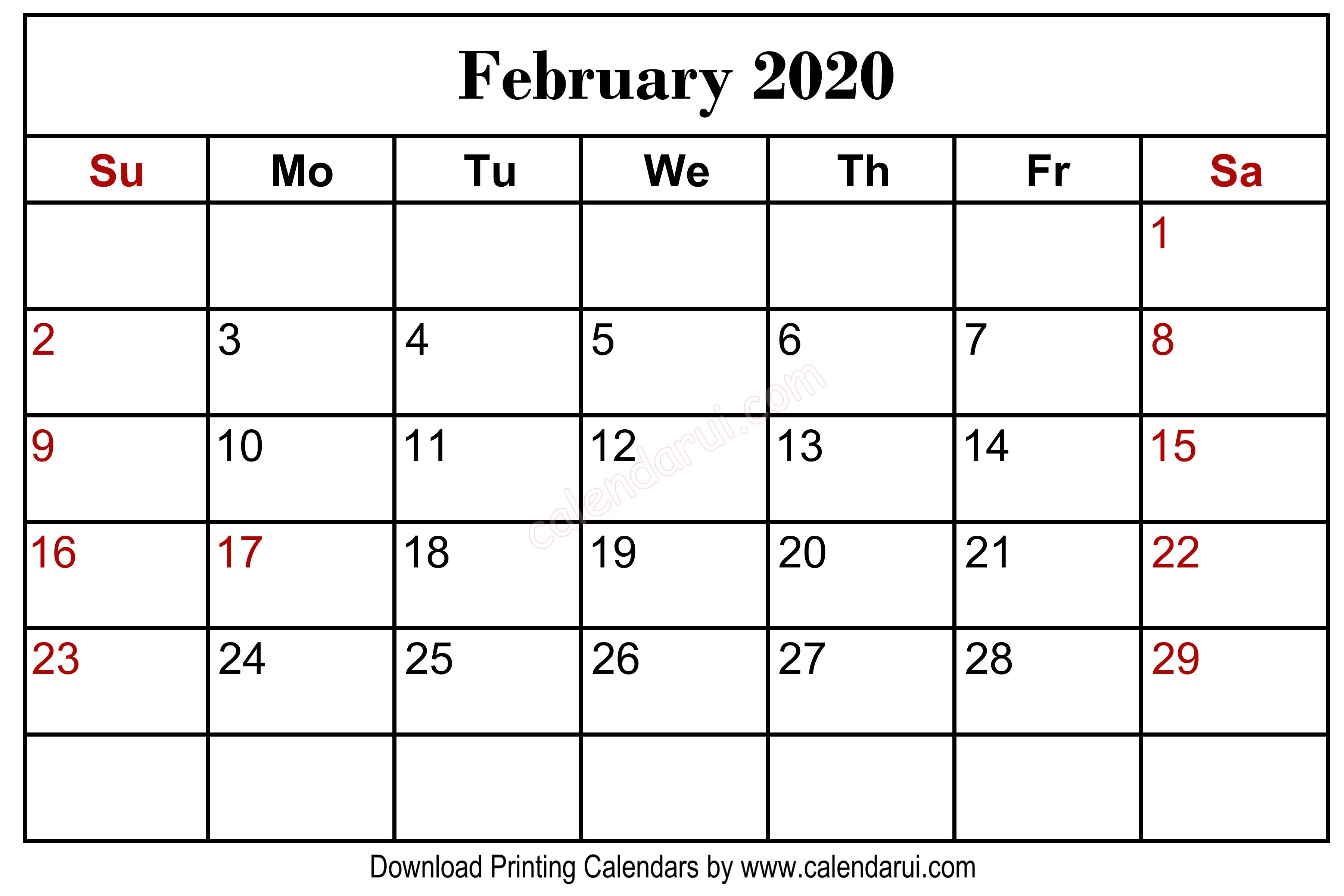 February 2020 Blank Calendar Printable Centre In 2019