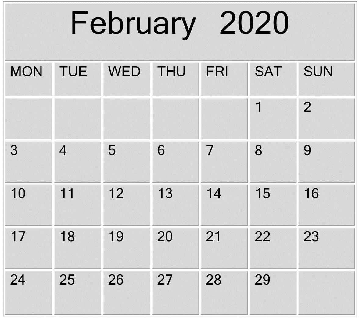 February 2020 Blank Calendar Word, Excel Template – Free