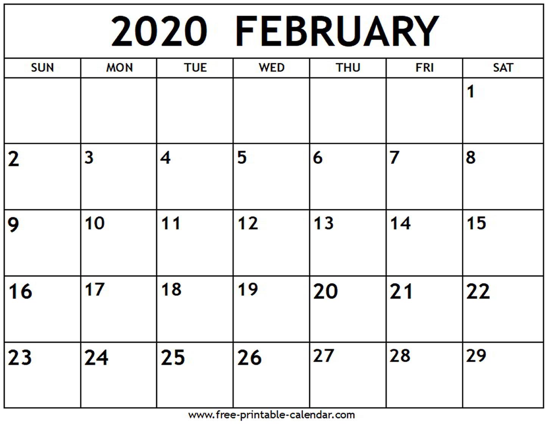 February 2020 Calendar - Free-Printable-Calendar