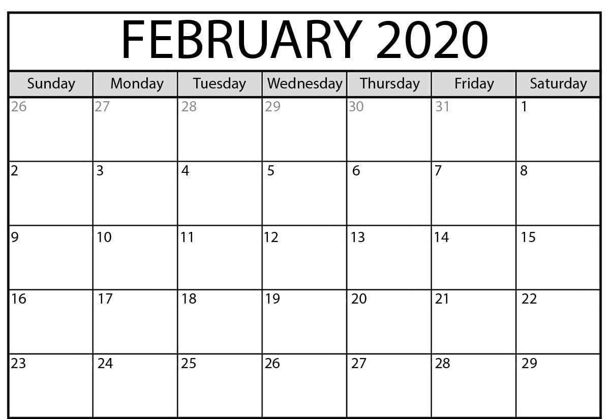 February 2020 Calendar Pdf | Printable Calendar Template