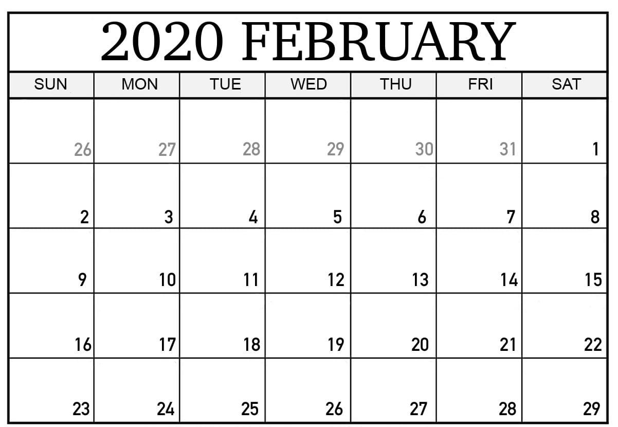 February 2020 Calendar Pdf, Word, Excel Template