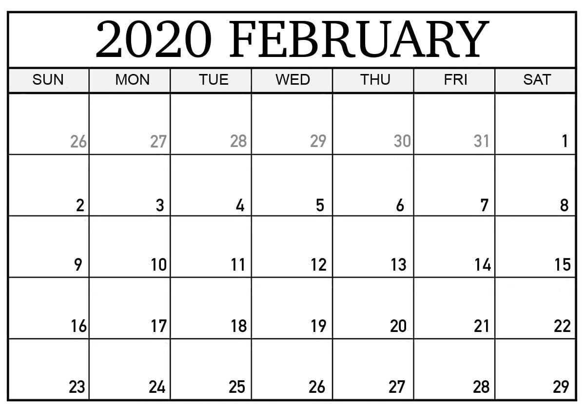 February 2020 Calendar Pdf, Word, Excel Template
