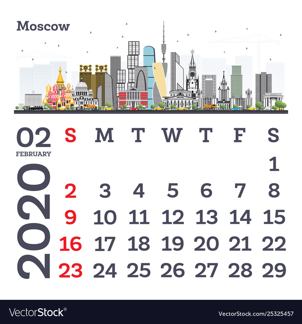 February 2020 Calendar Template With Moscow City