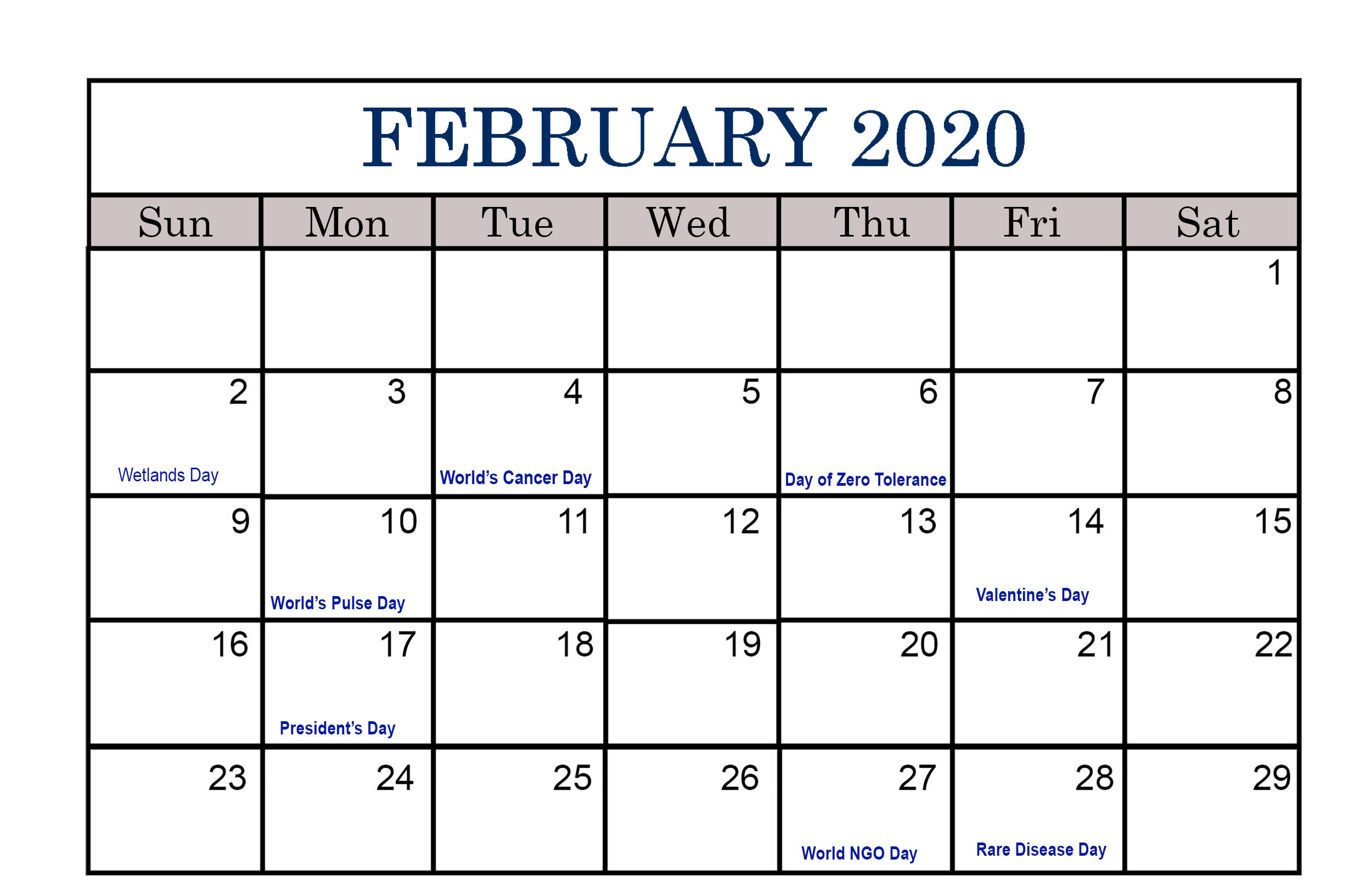 February 2020 Calendar Us Holidays, Events List | Free
