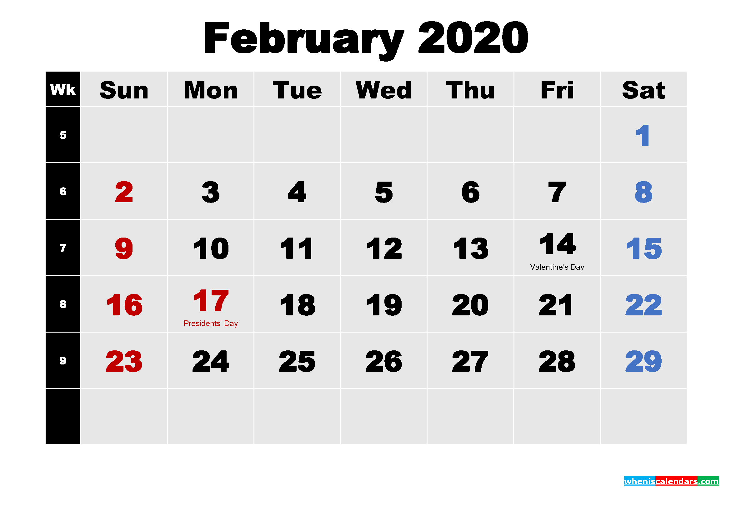 February 2020 Calendar With Holidays Wallpaper   Free