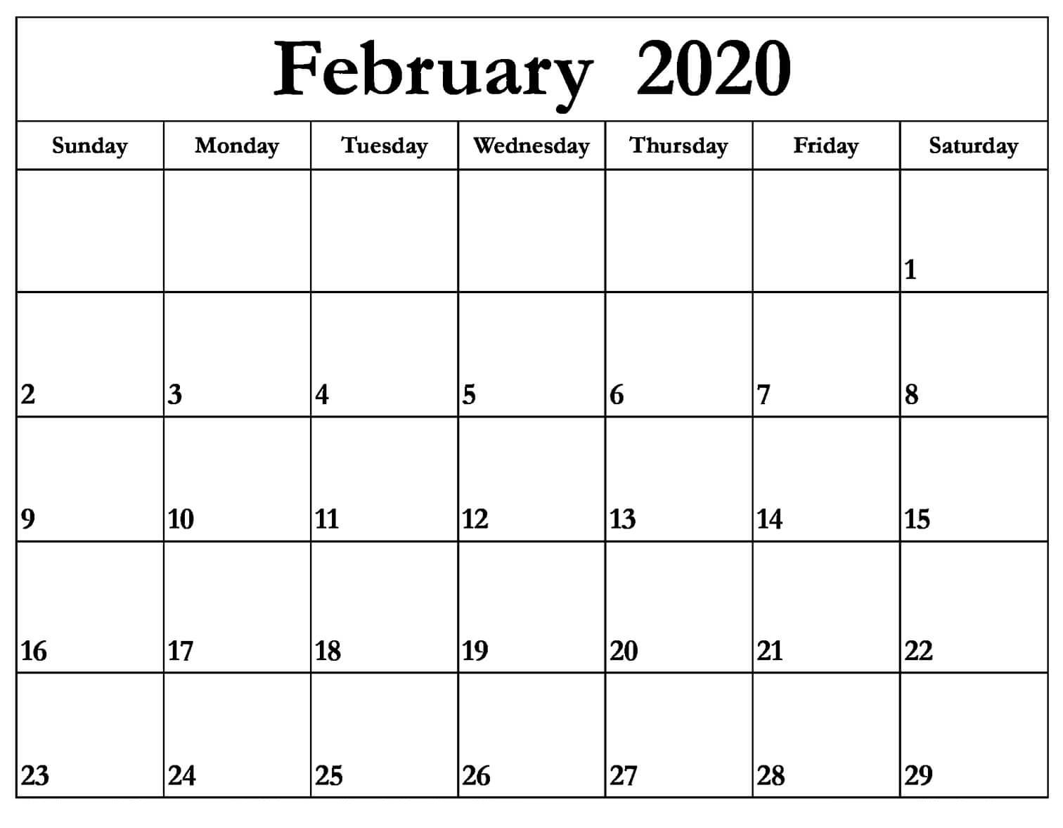 February 2020 Calendar Word Excel & Pdf | 12 Month Printable