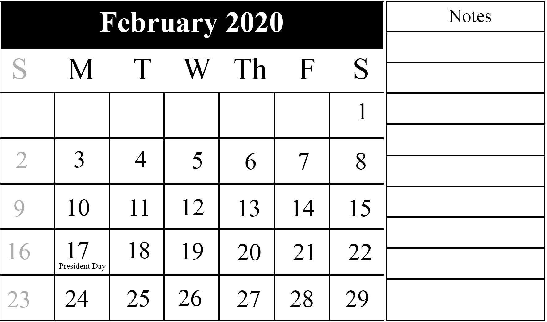 February Calendar 2020 Free Printable Template Pdf Word Excel