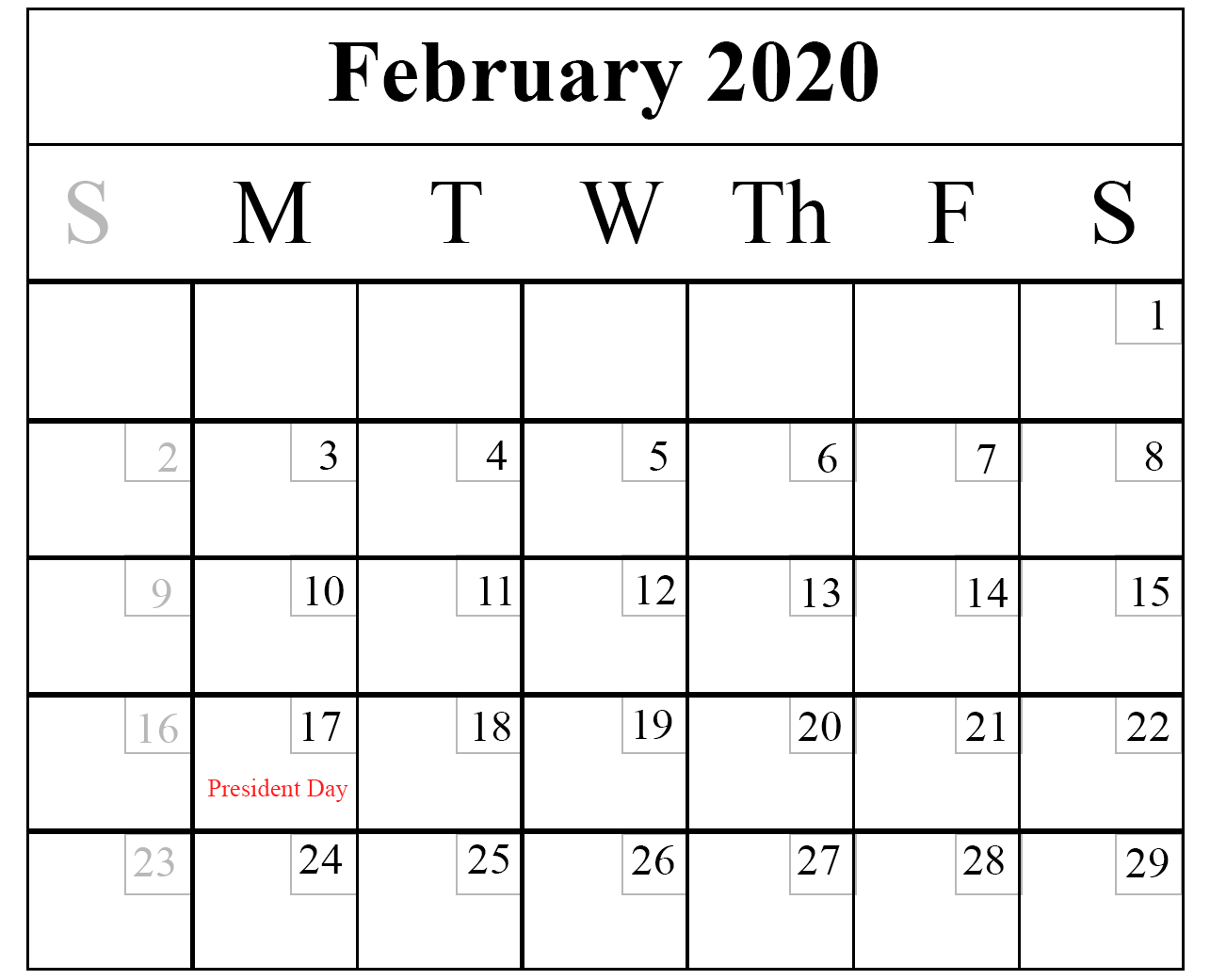 February Calendar 2020 Free Printable Template Pdf Word