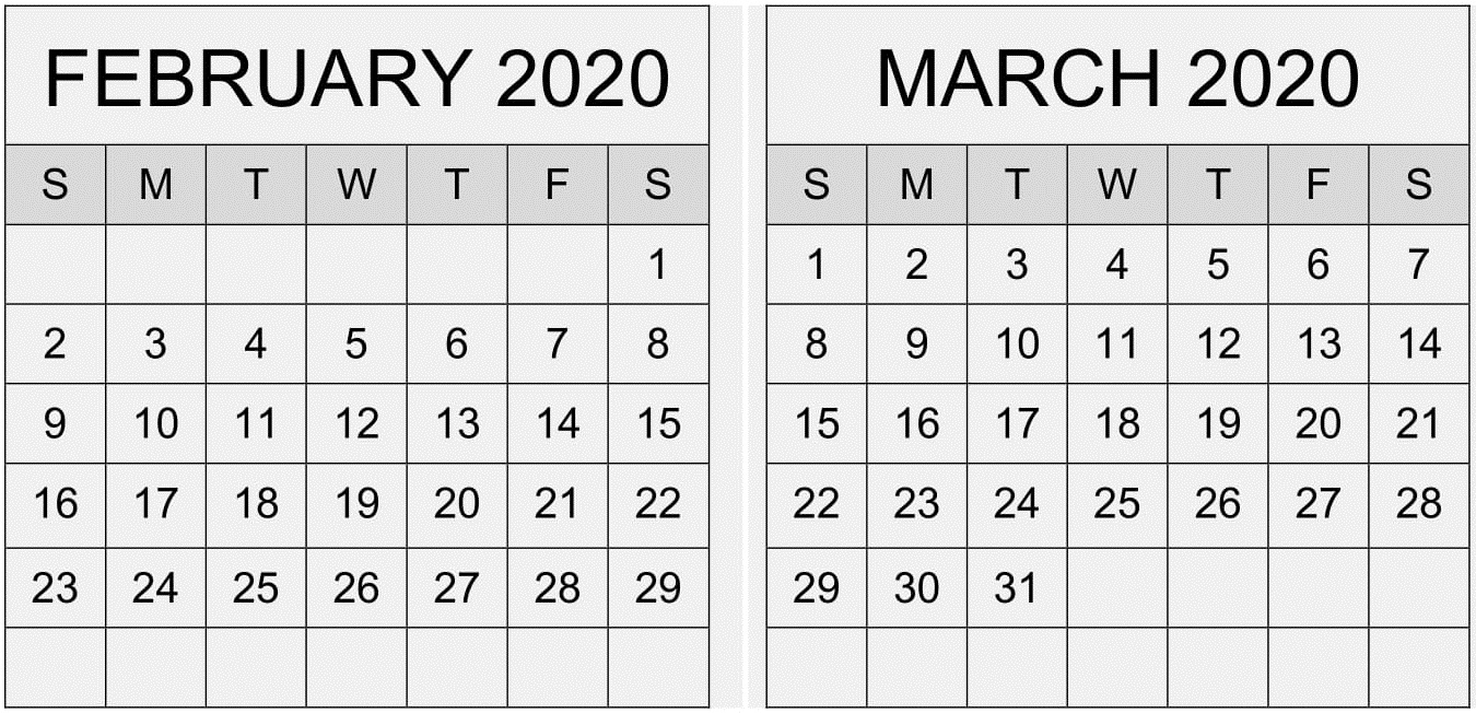 February March 2020 Calendar Pdf Template – Free Latest