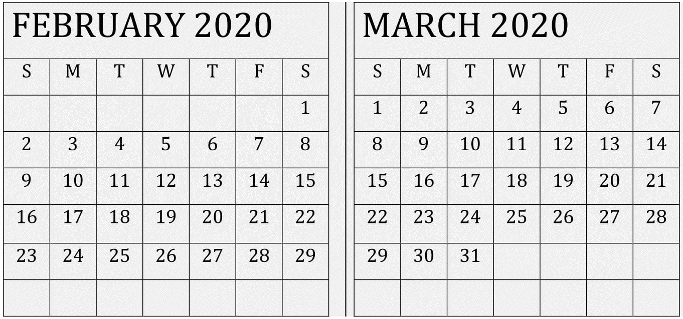 February March 2020 Calendar With Usa Holidays – Free Latest