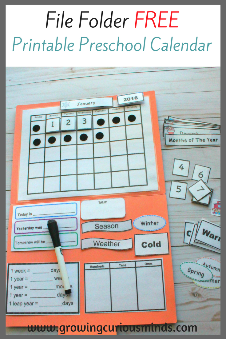 File Folder Free Printable Preschool Calendar | Preschool
