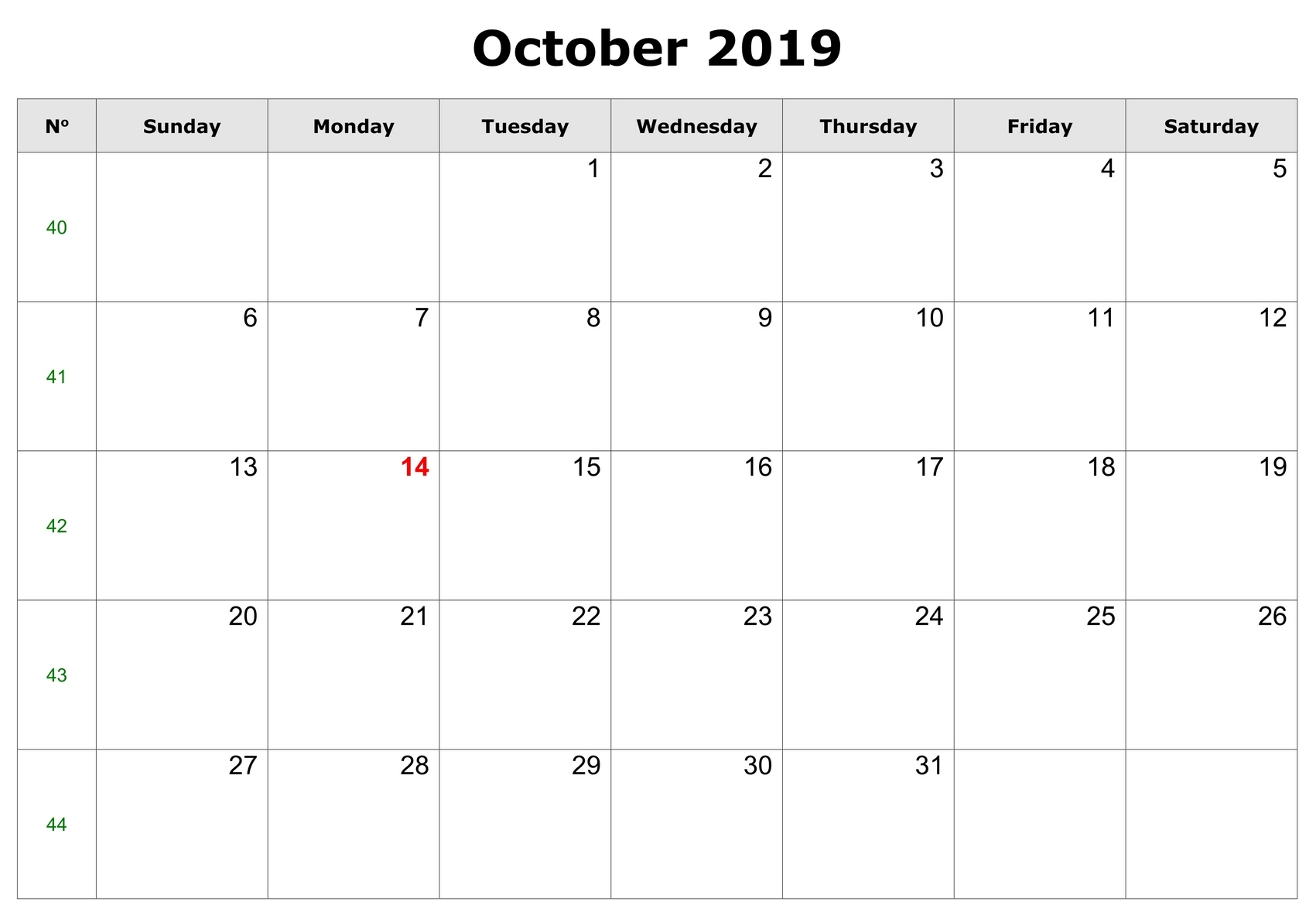 Fillable October Calendar 2019 Editable Printable Notes To