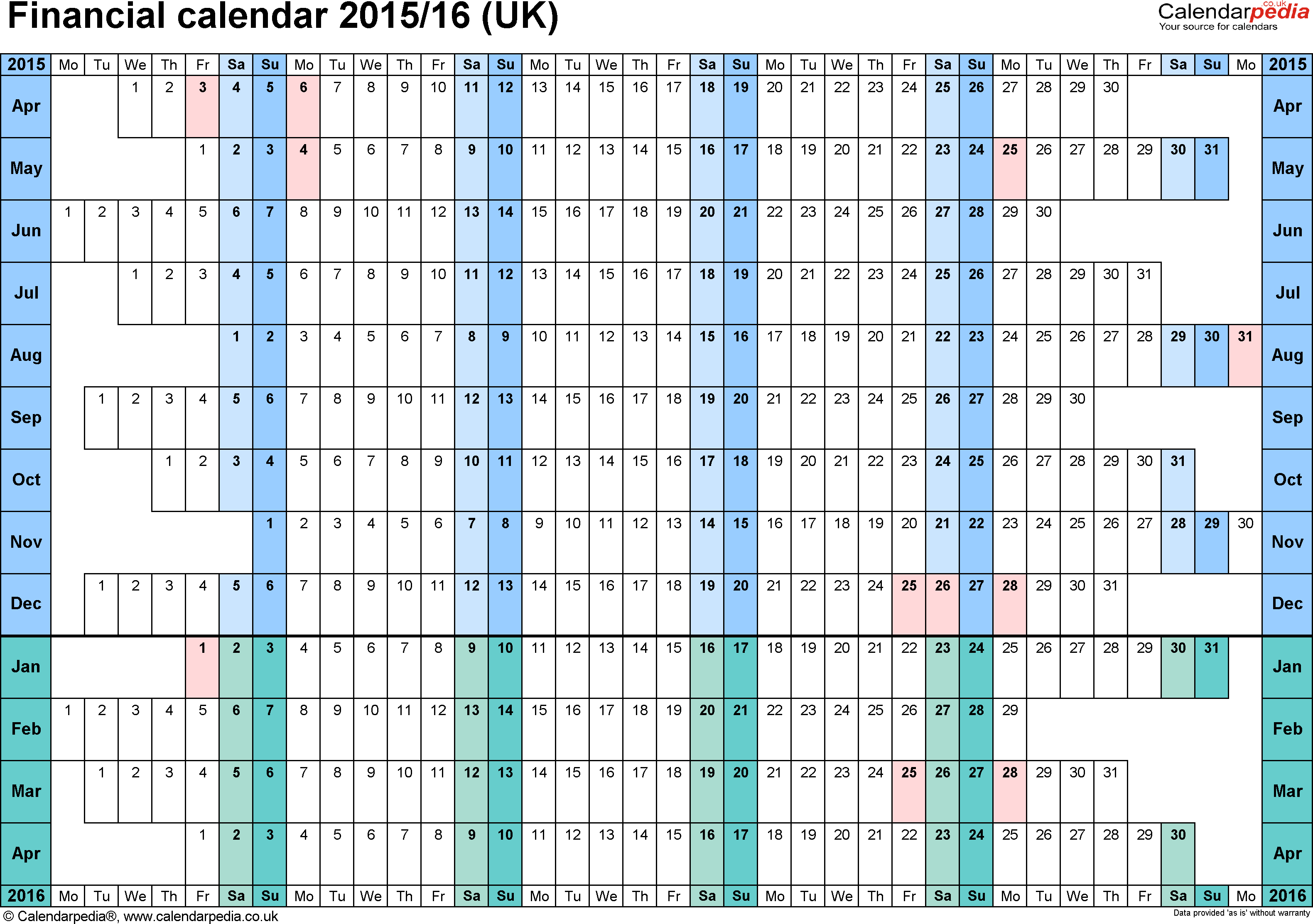 Financial Calendars 2015/16 (Uk) In Microsoft Excel Format