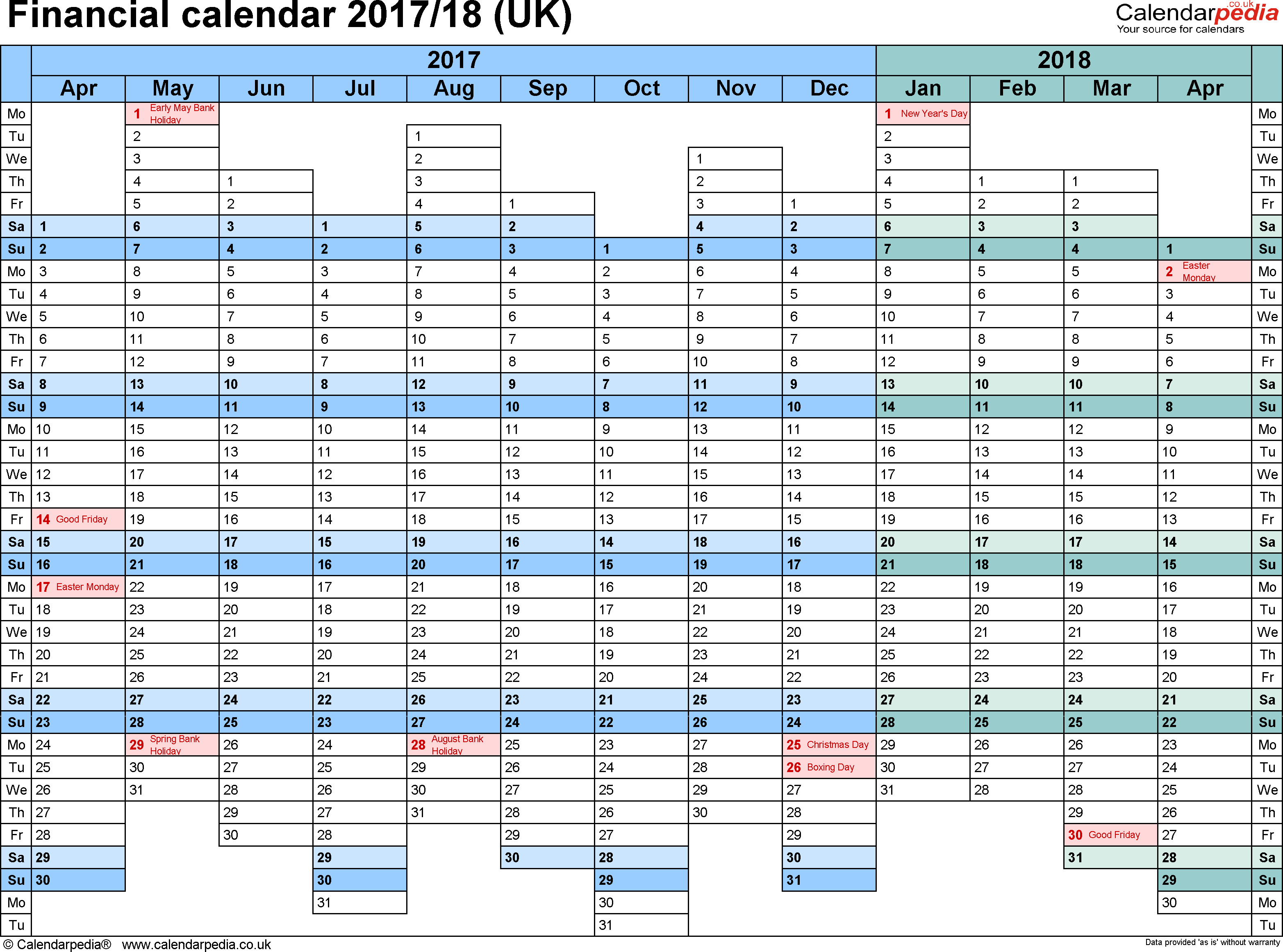 Financial Calendars 2017/18 (Uk) In Pdf Format With Regard