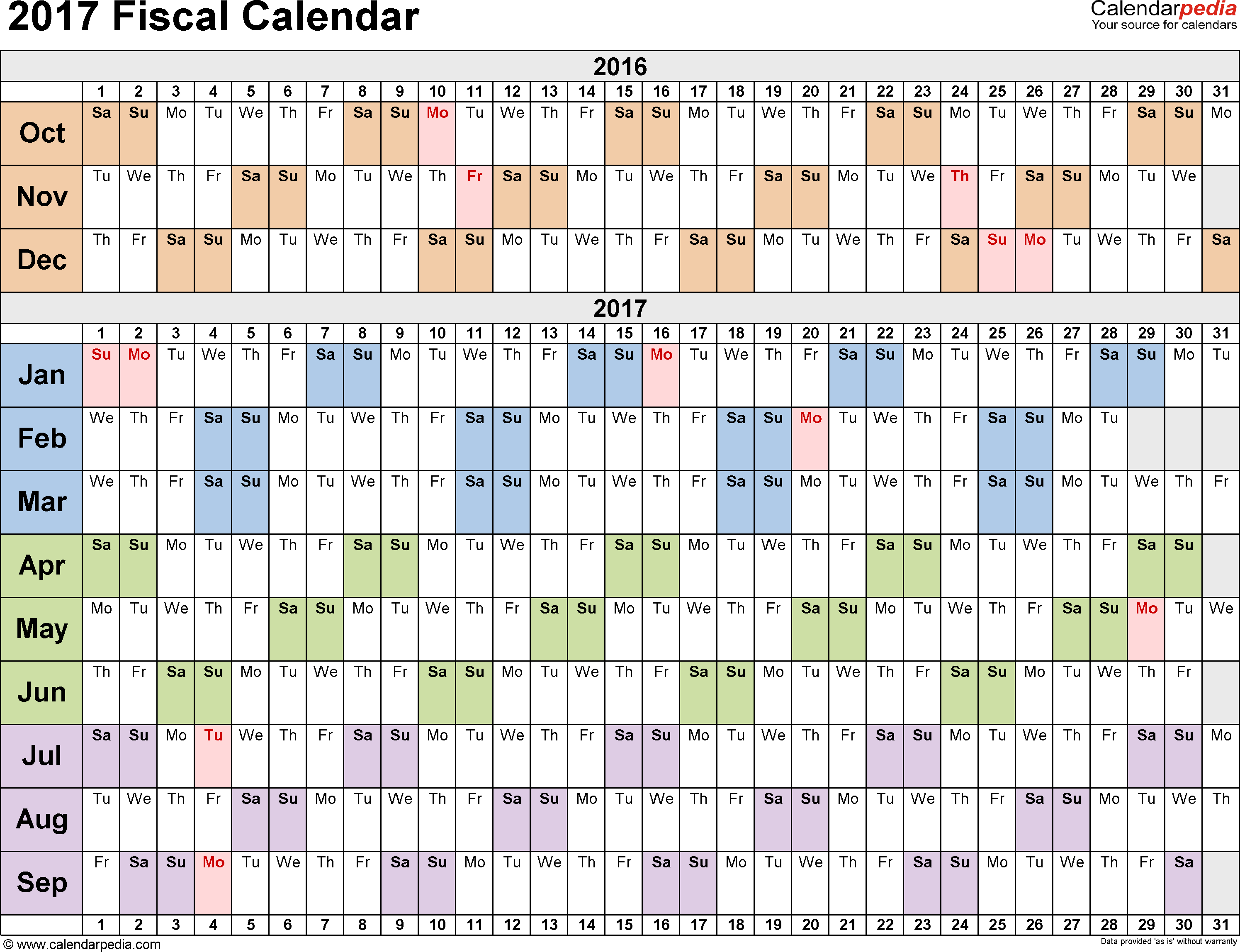 Fiscal Calendars 2017 - Free Printable Pdf Templates