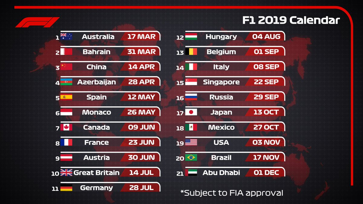 "Formula 1 On Twitter: ""2019 Draft #f1 Calendar 🗓️ 21 Races"