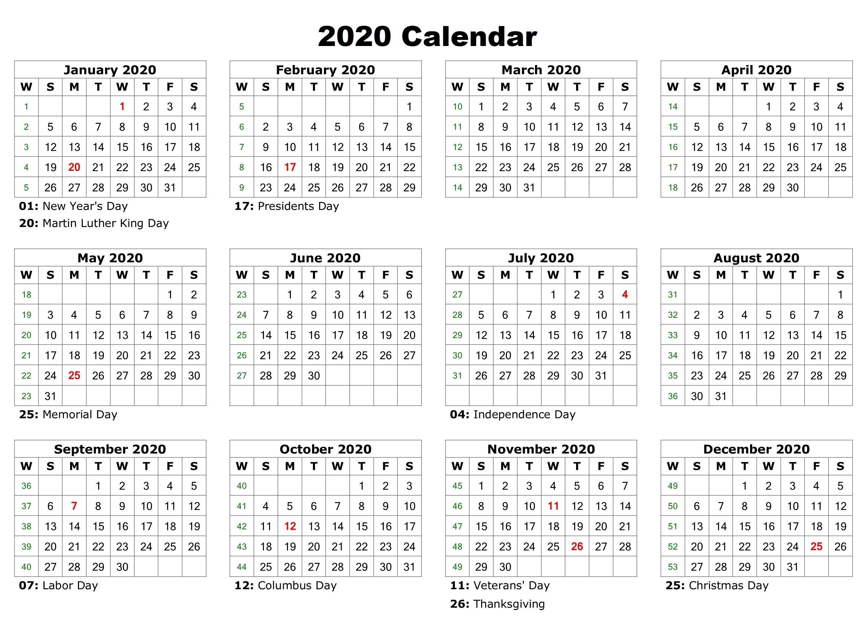 Free 12 Month 2020 Calendar With Holidays - Jackby - Medium